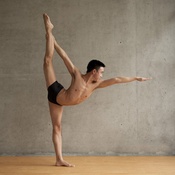 Man doing Standing Bow Pose