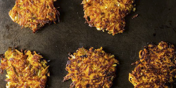 Hanukkah Recipe - Sweet Potato Parsnip Latkes With Feta & Leeks
