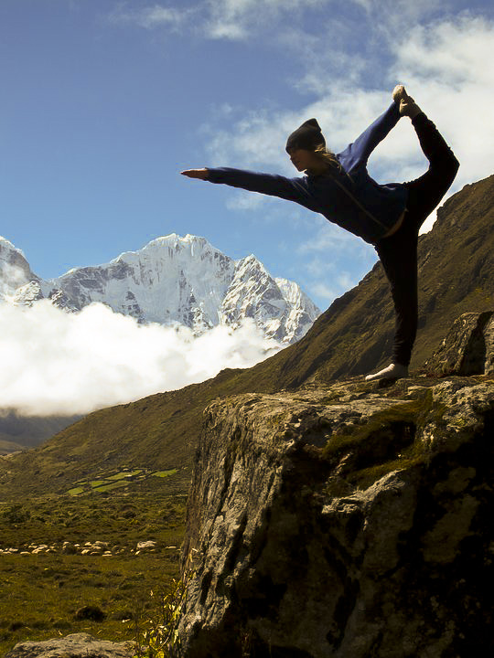 Standing Bow Pose in Mountains - Yoga Pose